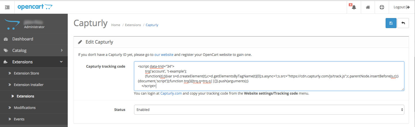 opencart_capturly_tracking_code