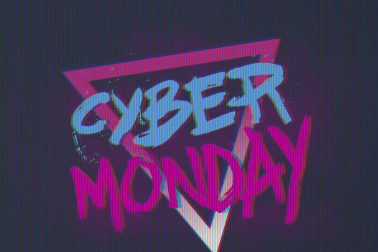 retrowave illustration of cyber monday