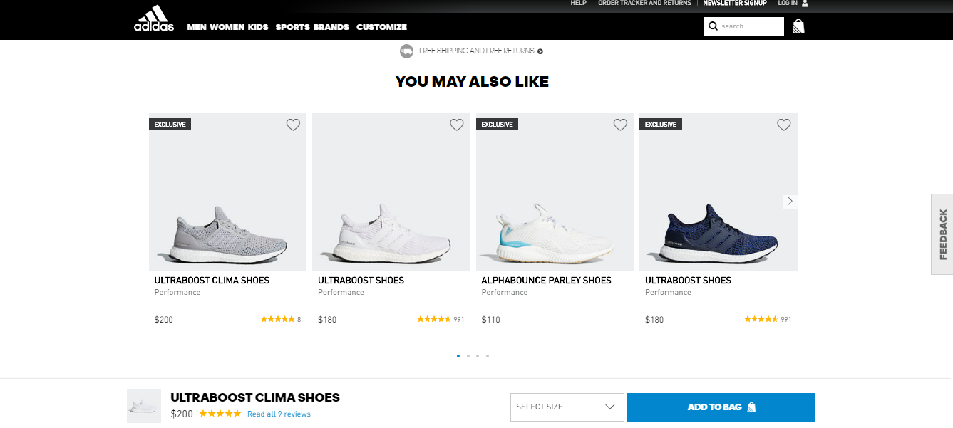website ux of adidas