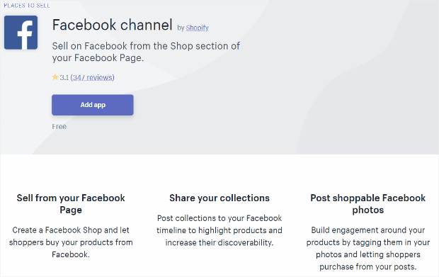 shopify Facebook channel app