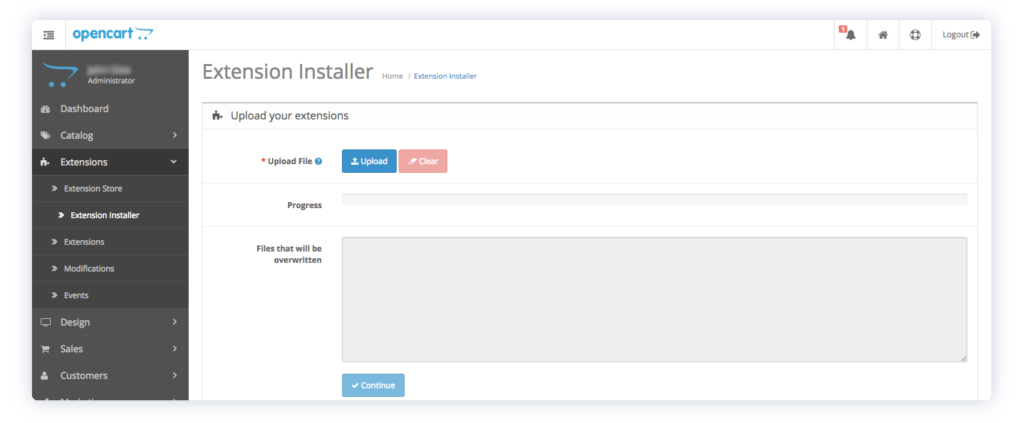 capturly opencart admin extension installer
